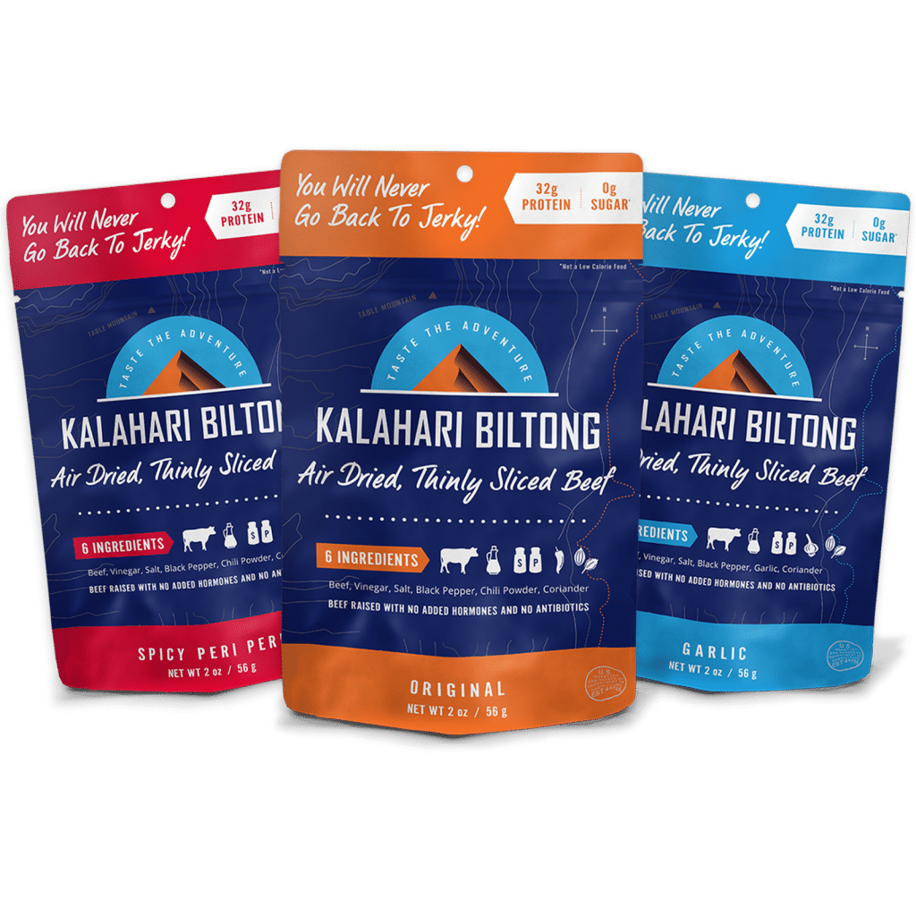 Kalahari Biltong Variety pack all three flavors. Biltong Original, Spicy Peri Peri, and Garlic.